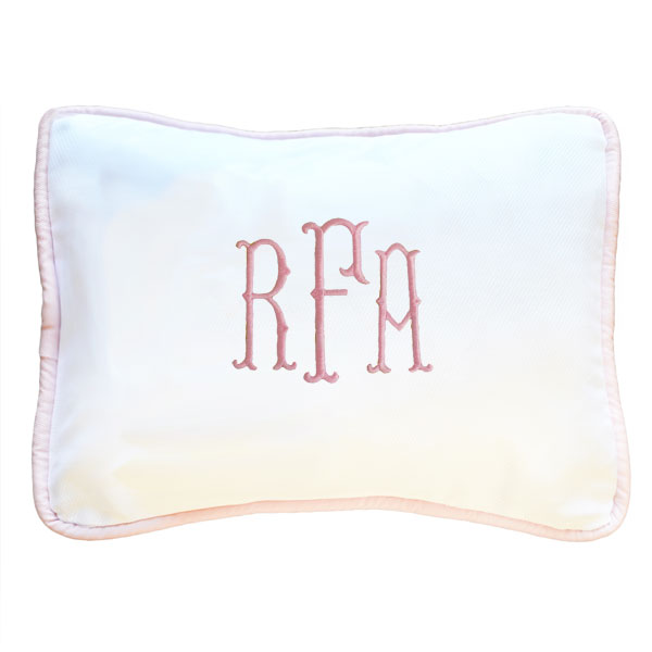 personalized baby pillow white with pink trim