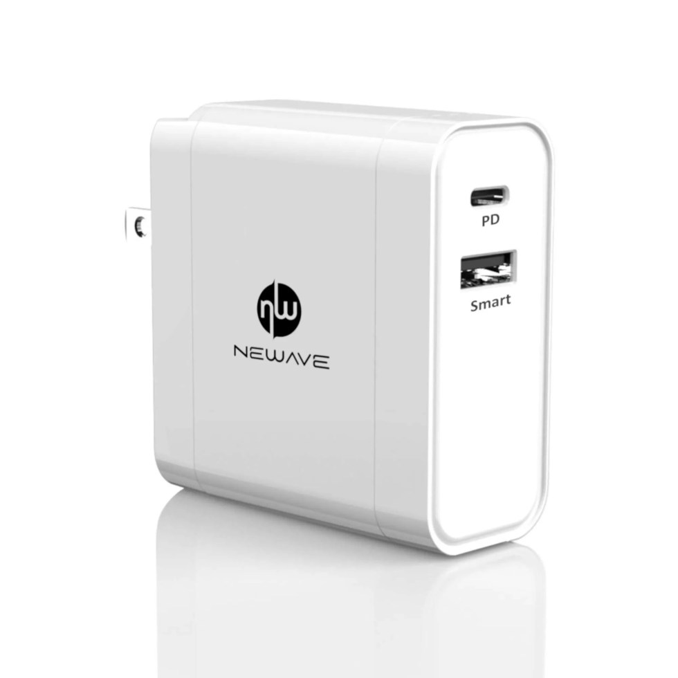 Newave 60W 2 Ports Pd + Smart Dual Usb Fast Quick Rapid Wall Charger Adapter For Phone Tablet Pc Laptop