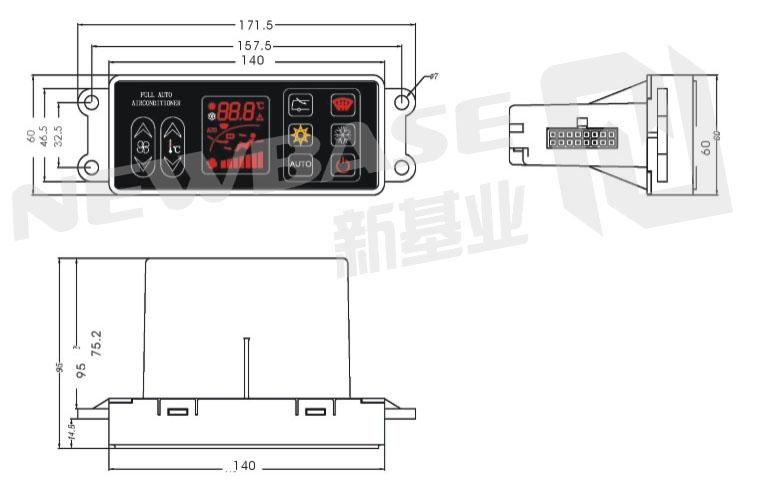 CG220214 vehicle HVAC controller, bus hvac controller