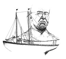 "A pioneer in the technology of fishing, Captain Dan Mullins introduced beam trawling, otter trawling, the double-headed winch and the Mullins freezer to the New Bedford industry. ""An Irisher with Daydreams,"" as he once called himself, Mullins built several of his own boats. Pictured here is ""The Mary,"" his 81' schooner built for dragging in 1919, lost at sea with all hands in 1934. Illustration by Elizabeth Rososky"