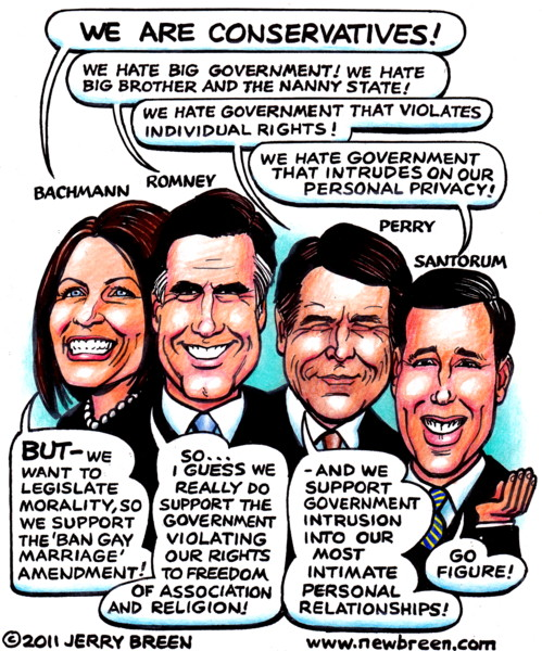 gay marriage cartoon Republican primary cartoon Republican  candidates caricature politics editorial cartoon gay rights humor satire Romney cartoon Bachman cartoon Rick Perry cartoon Rick Santorum cartoon