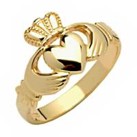 14k yellow Gold Claddagh Ring, Womens Gold Rings 2912