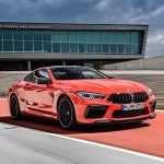 2020 Bmw M8 Competition Coupe Color Fire Red Front Three Quarter Wallpapers 35 Newcarcars