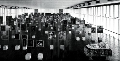 MASP collection displayed on the crystal glass easels by Lina Bo Bardi in the 1970s, Photo Gasparini