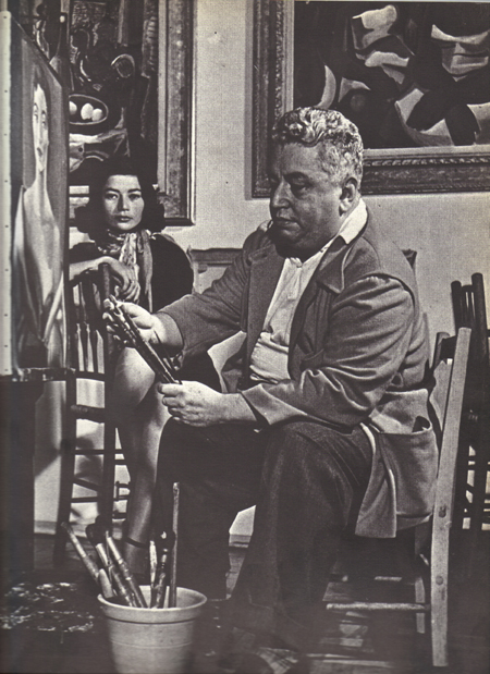 Di Cavalcanti in his studio, Rio, 1955
