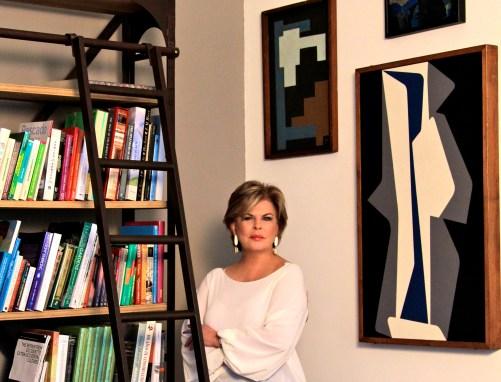 Ella Fontanals-Cisneros with works of José Mijares (left) and Pedro de Oraá (right)/Courtesy of CIFO | Cisneros Fontanals Art Foundation
