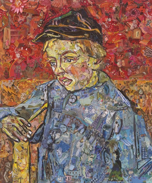 "Vik Muniz's 2016 collage in homage to MASP's 1888 Van Gogh oil, ""The Postman's Son,"" at Galeria Nara Roesler at SP-Arte 12th edition."