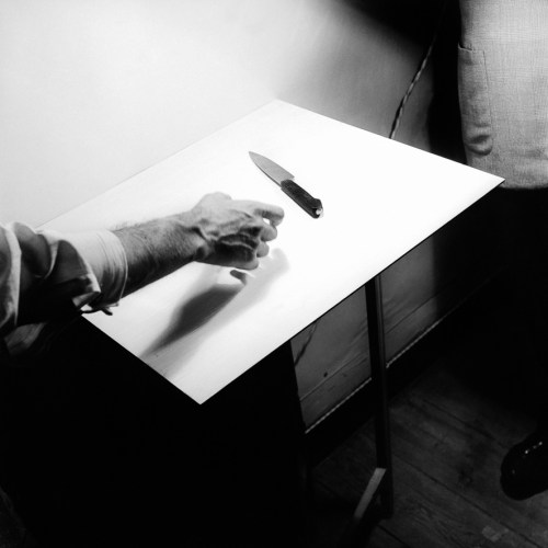 "Fernando Lemos, ""Hand and Knife, ""1949:52, silver gelatin print, edition 1:7, 40 x 40 cm"