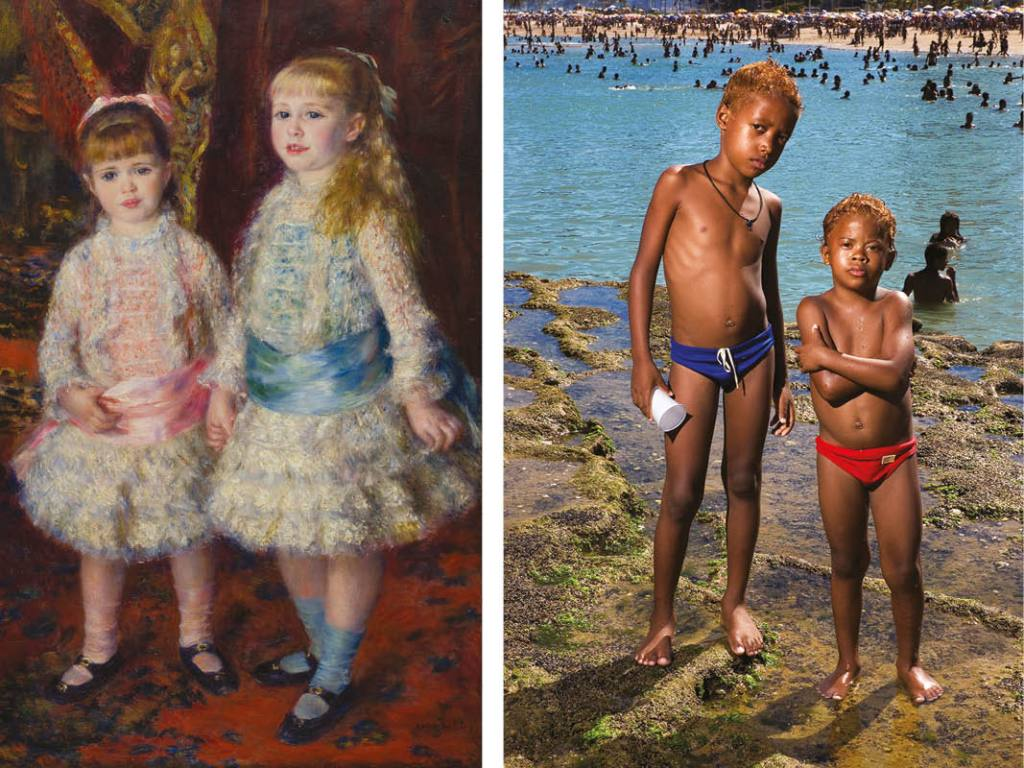 Pierre-Auguste Renoir, Rosa e azul (As meninas Cahen d´Anvers), 1881, óleo sobre tela, 119x74 cm, acervo MASP/Photo: João Musa. Barbara Wagner, Sem título (Da série Brasília Teimosa), 2005, jato de tinta, 57,3x40 cm, acervo MASP.