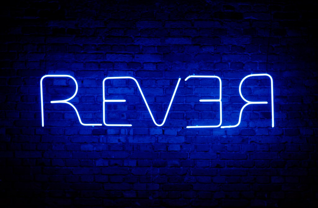 "Augusto de Campos, ""REVER"" (1974, Viva Vaia series), 180 x 46 cm neon sign installation of 2016 exhibition title/Photo: Fernando Laszlo"