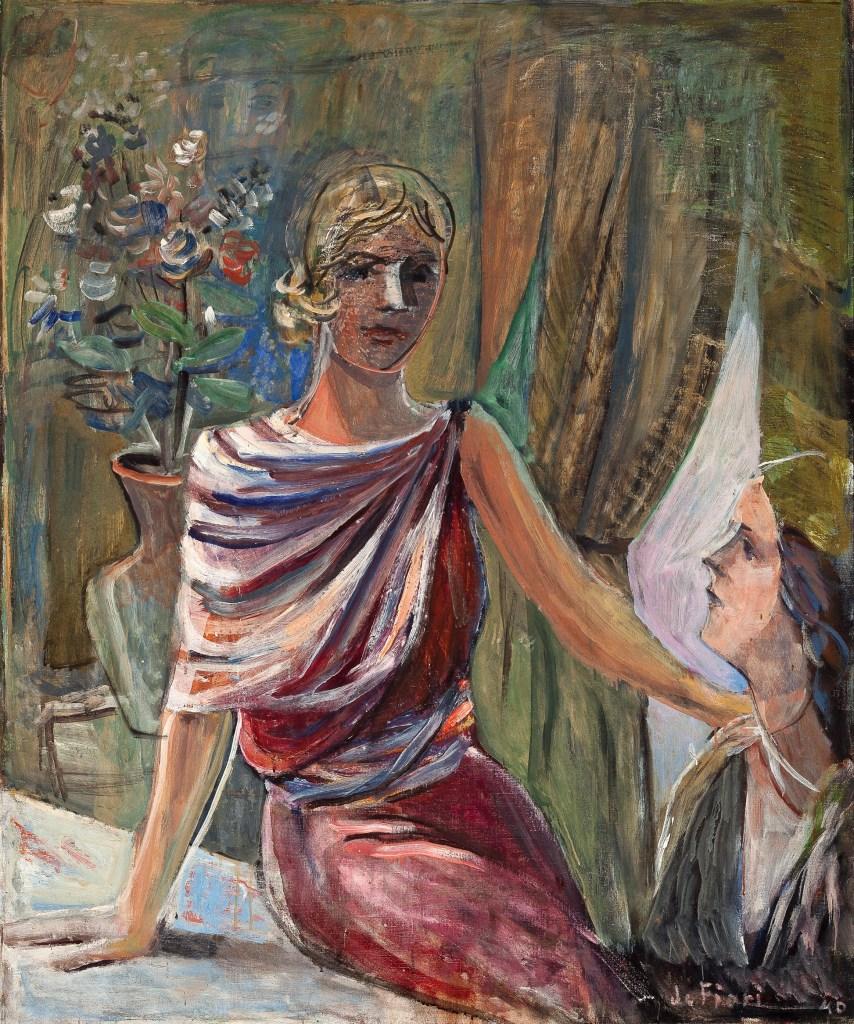 """De Fiore, """"Two Women in Interior,"""" Gala series, 1940, oil on canvas, 120x100cm"""