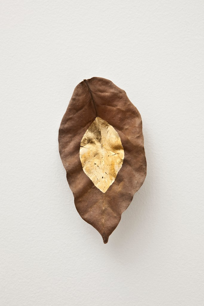 Daniel Steegmann, Masks, 2012, Leaf of Caboatã-de-leite and gold leaf, 16 x 9 cm, Andrea e José Olympio Pereira Collection, Photo Courtesy Mendes Wood DM, São Paulo