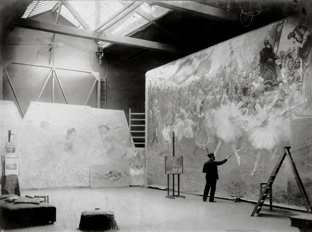 Eliseu Visconti in his Paris studio working on the proscenium curtain of Rio's Opera House, 1907. Courtesy Projeto Eliseu Visconti