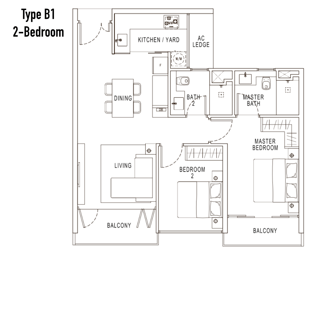 Condo Singapore - Pollen & Bleu - Floor Plan Type B1 2-Bedroom
