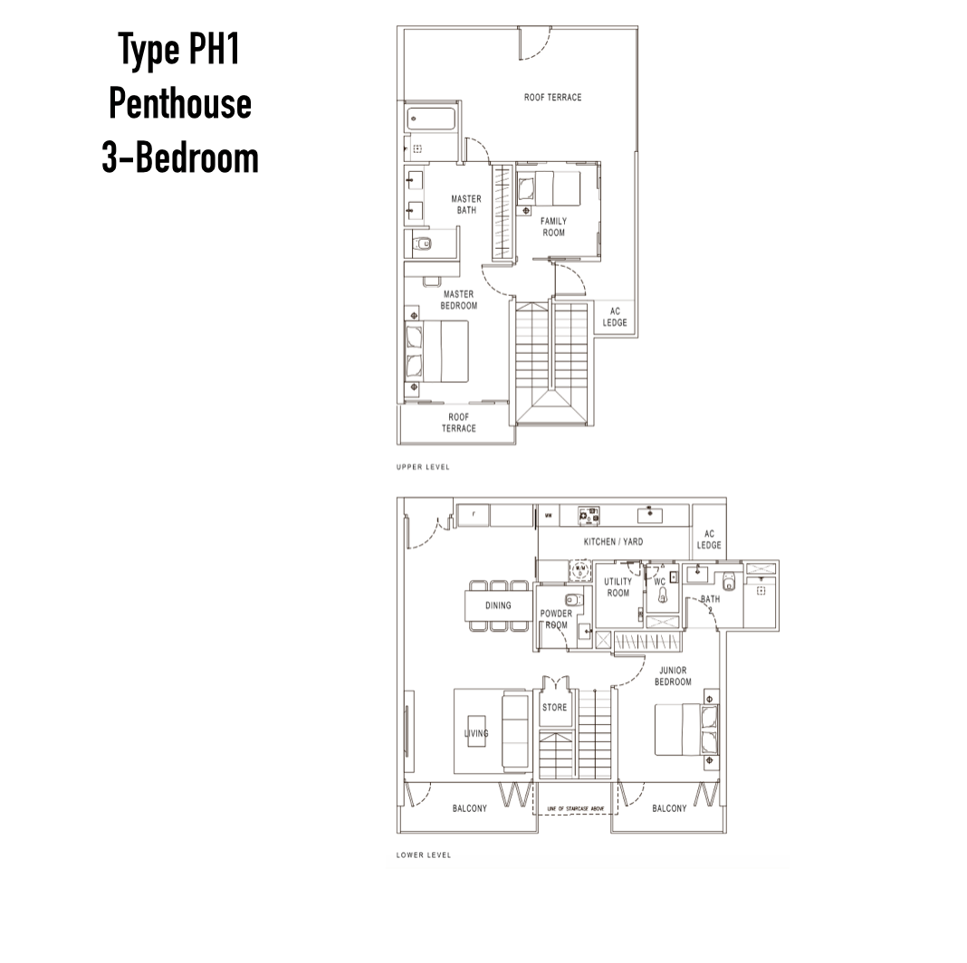 Condo Singapore - Pollen & Bleu - Floor Plan Type PH1 Penthouse 3-Bedroom