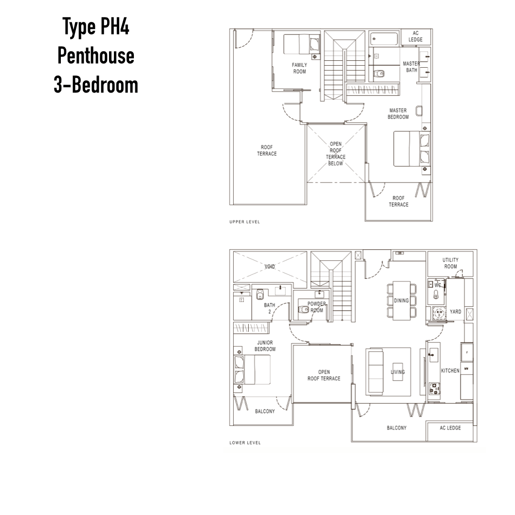 Condo Singapore - Pollen & Bleu - Floor Plan Type PH4 Penthouse 3-Bedroom
