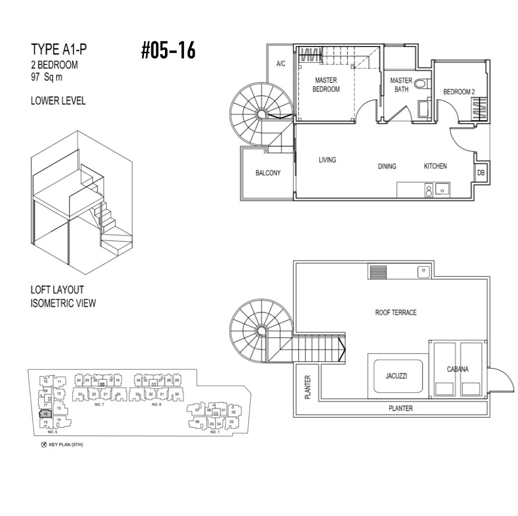 New Condo Launch - Jade Residences - Floor Plan Type A1-P Penthouse 2-Bedroom 05-16