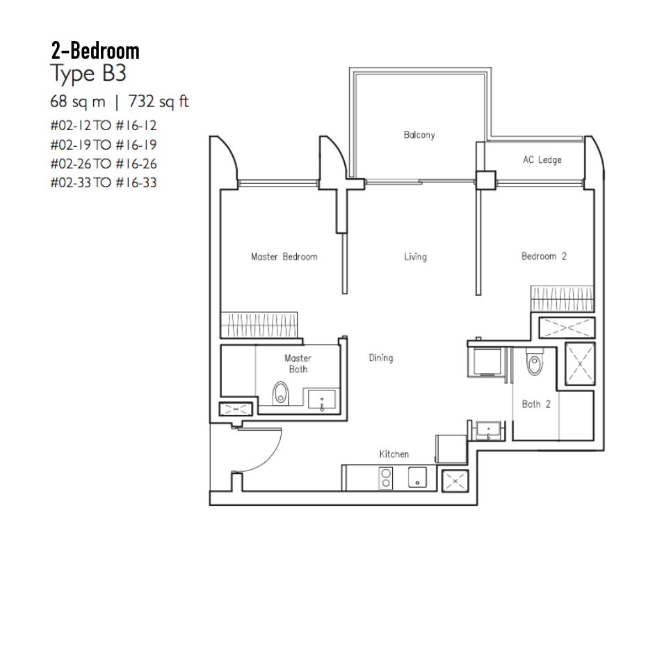 New Condo Launch - LakeVille - Floor Plan Type B3