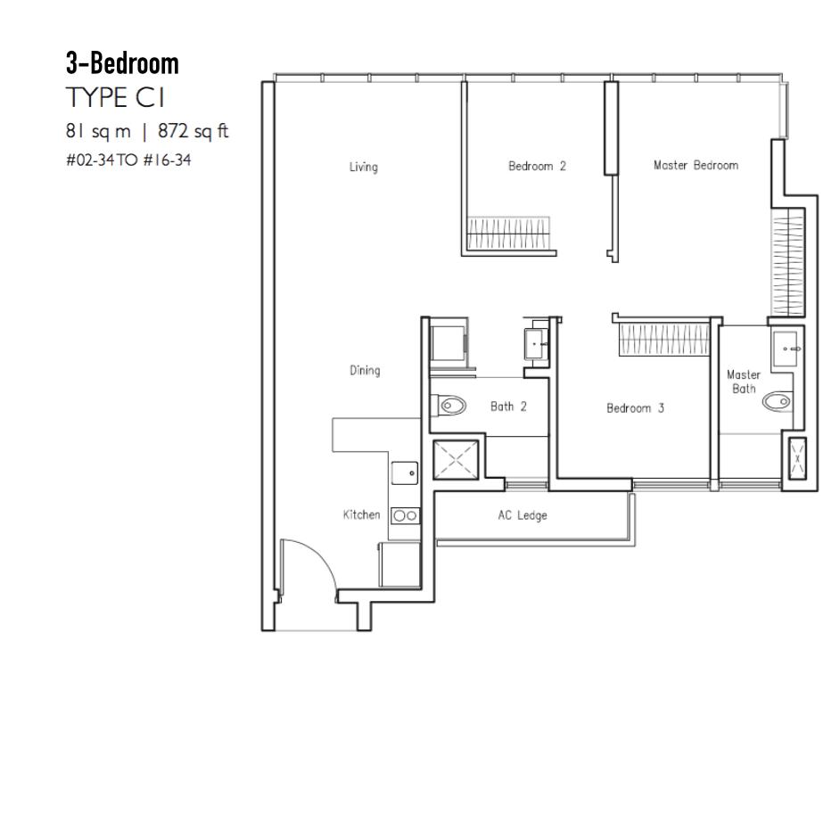 New Condo Launch - LakeVille - Floor Plan Type C1