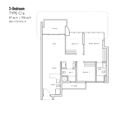 New Condo Launch - LakeVille - Floor Plan Type C1a