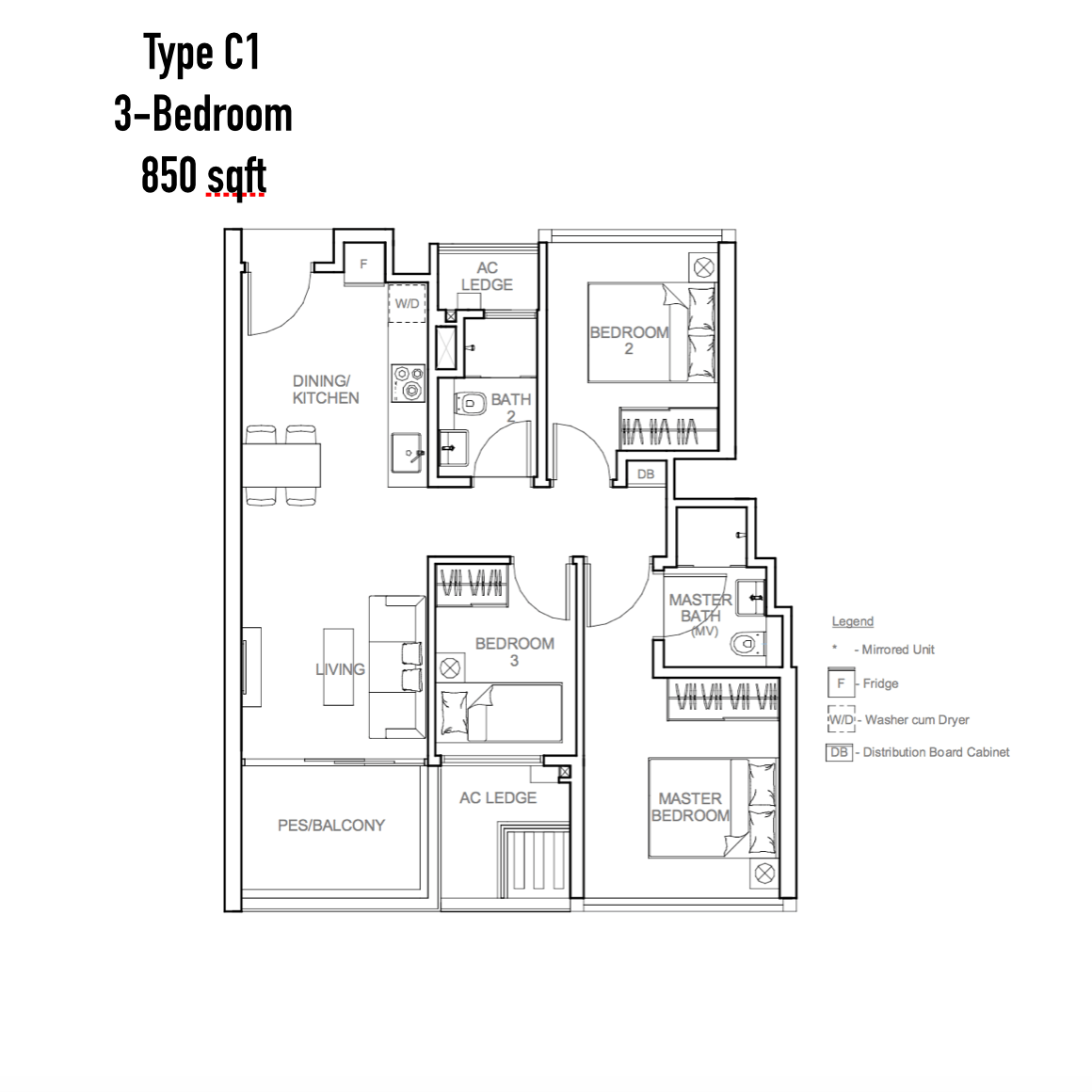 New Launch - Sophia Hills - Floor Plan Type C1 3-Bedroom