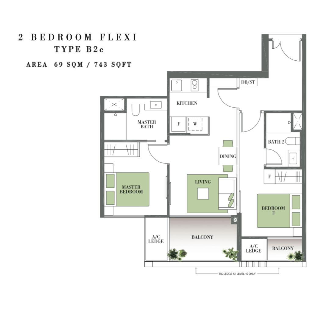New Launches - Botanique @ Bartley Floor Plan Type B2c 2-Bedroom Flexi