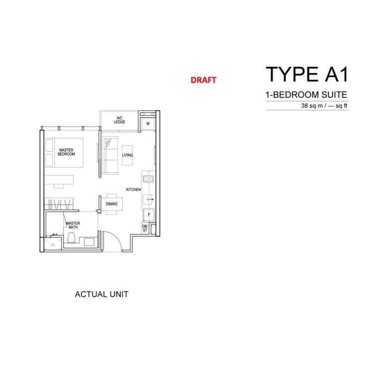 Condo Singapore - Sims Urban Oasis - Floor Plan A1 1-Bedroom Suite
