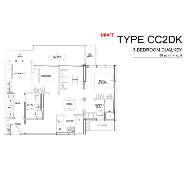Singapore Property - Sims Urban Oasis - Floor Plan CC2DK 3-Bedroom Dual Key