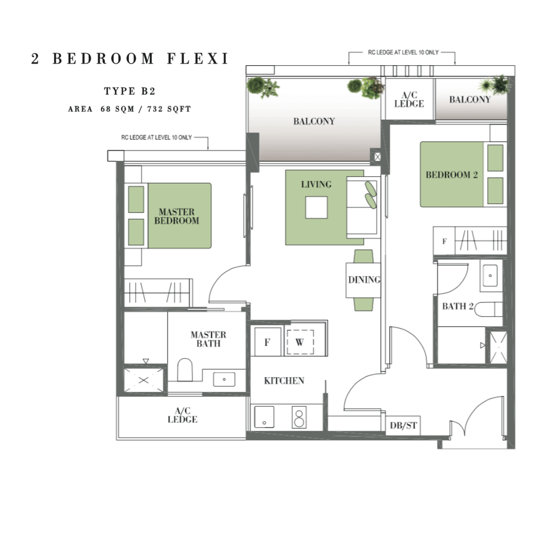 Singapore Property - Botanique @ Bartley - Floor Plan type B2 2-Bedroom Flexi
