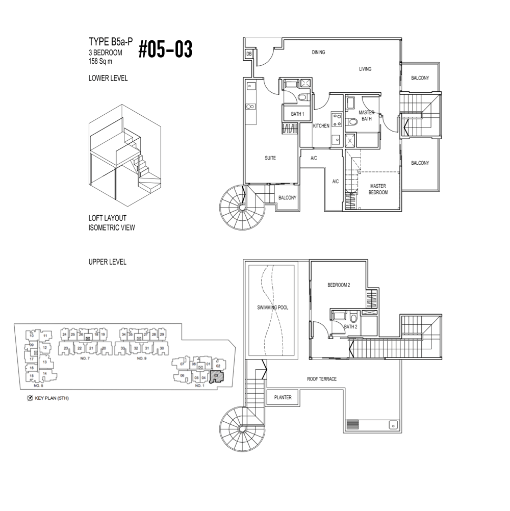 Singapore-Property-Jade-Residences-Floor-Plan Type B5a-P Penthouse 3-Bedroom 05-03