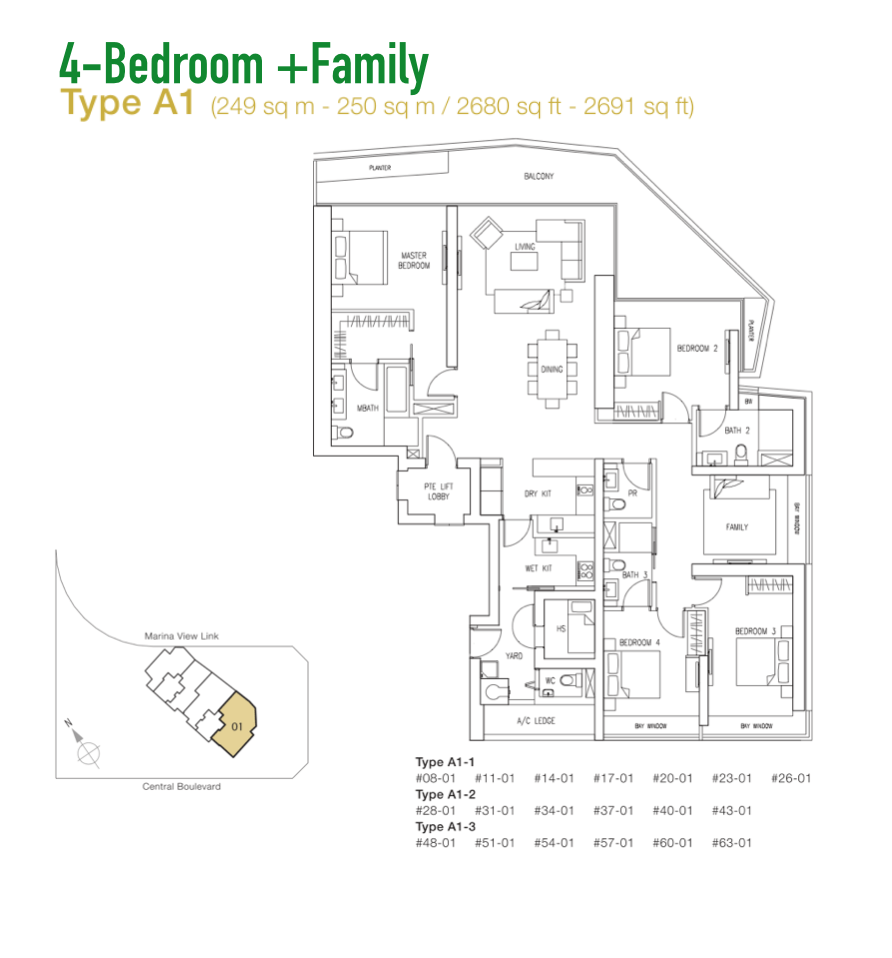 Marina Bay Suites - Floor Plan Type A1 2680sqft 4+Family