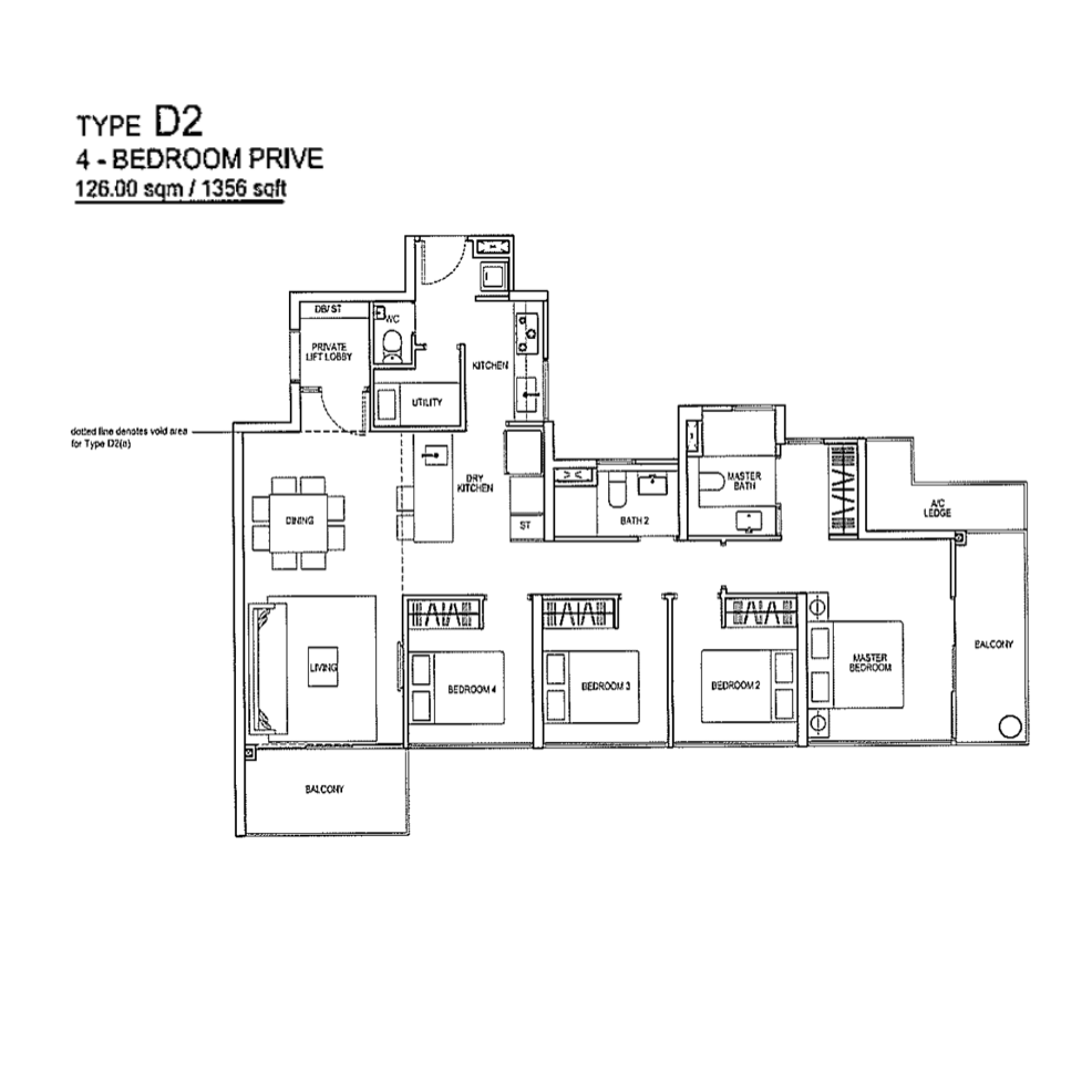 Rivertrees Residences - Floor Plan Type D2 1356sqft 4-Bedroom Prive