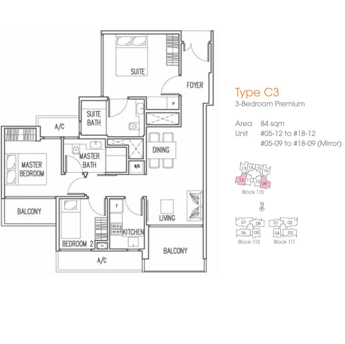 Sg Property - Trilive - Floor Plan C3 84sqm 3-Bedroom Premium