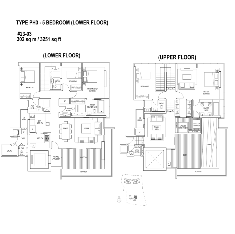 Skyline-Residences - Floor Plan Type PH3 3251sqft Penthouse 5-Bedroom