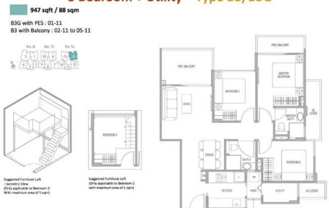 Adana - Floor Plan 3-Bedroom + Utility Type B3/B3G 947sqft
