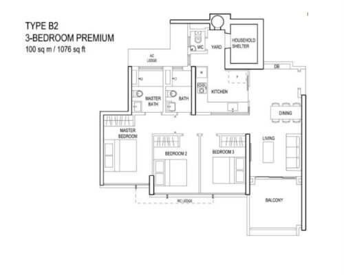 The Terrace - Floor Plan - Type B2 3-Bedroom Premium 1076sqft