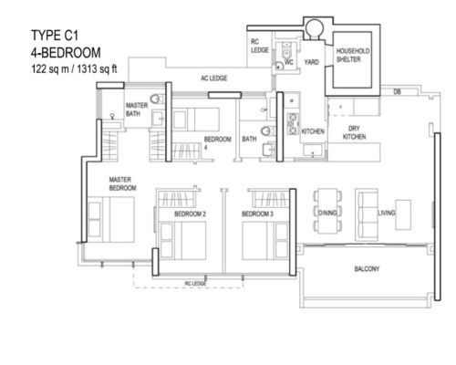 The Terrace - Floor Plan - Type C1 4-Bedroom 1313sqft