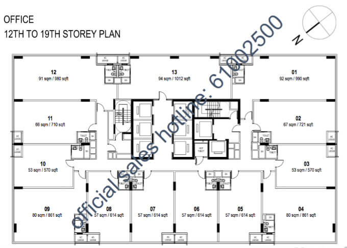 Centrium Square - New Commercial Launch - Floor Plan 11th to 19th Storey