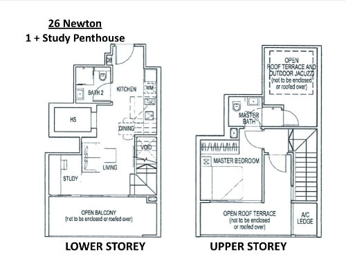 26 Newton - Floor Plan Penthouse 1+Study