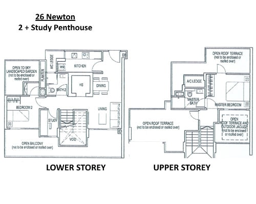 26 Newton - Floor Plan Penthouse 2 + Study