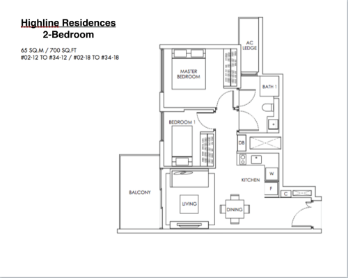 Highline Residences - Floor Plan 2-Bedroom 700sqft