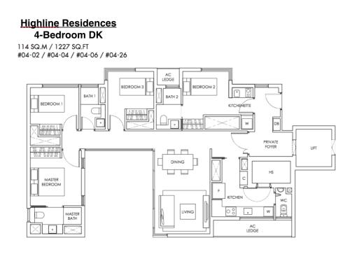 Highline Residences - Floor Plan 4DK 1227sqft