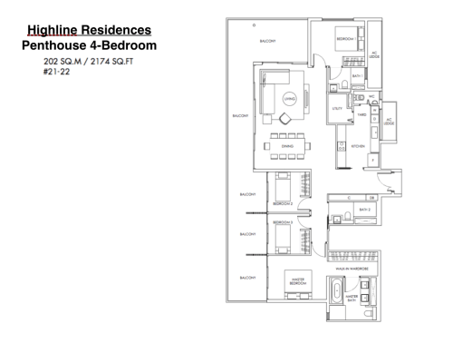 Highline Residences - Floor Plan Penthouse 4-Bedroom 2174sqft