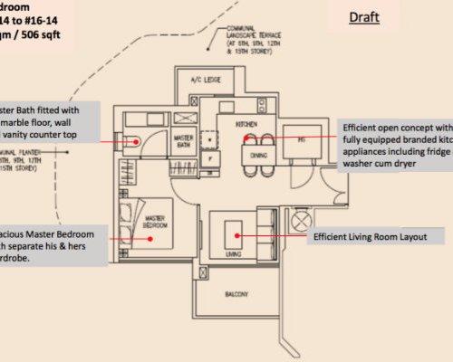 Stars Of Kovan - Floor Plan 1-Bedroom 506sqft