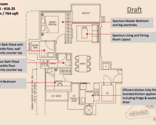 Stars Of Kovan - Floor Plan 2-Bedroom 743sqft