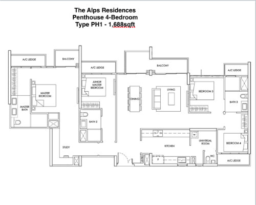 The Alps Residences Penthouse 4br 1688sqft
