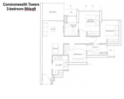 Commonwealth Towers 3br 904sf