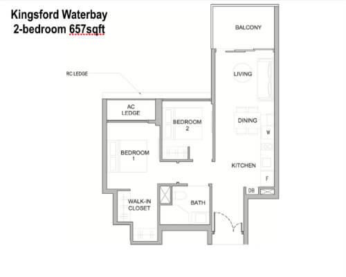 Kingsford Water - Floor Plan 2br 657sf