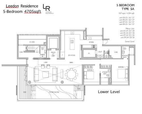 Leedon Residence Floor Plan 5br 4705sqft Lower Level