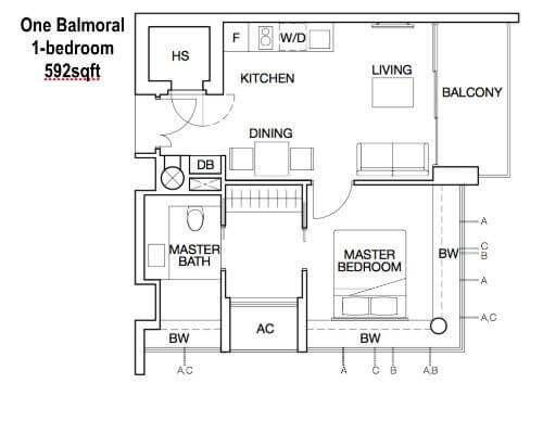 One Balmoral Floor Plan 1-Bedroom 592sqft